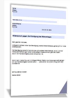 Muster mietvertrag widerruf kündigung Singakademie OrtenauWiderruf